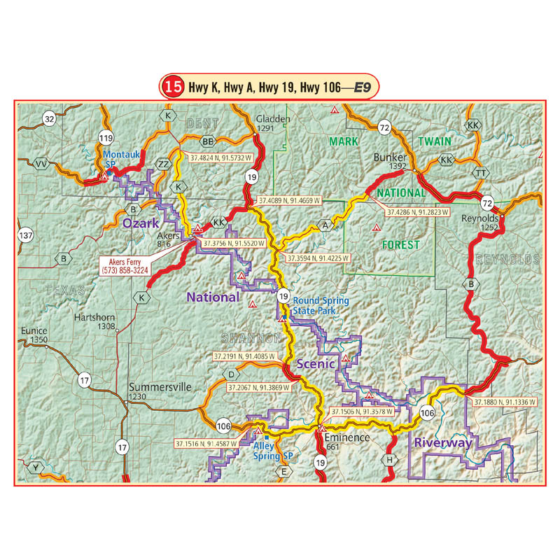 Ozarks G1 Map 3rd Edition Butler Motorcycle Maps